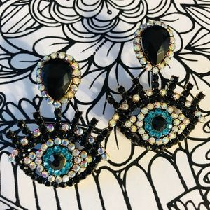 ✨Evil eye Ab Jet and Tea rhinestone earrings
